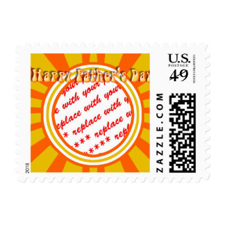 Groovy Retro Gold & Orange Father's Day Frame Stamps