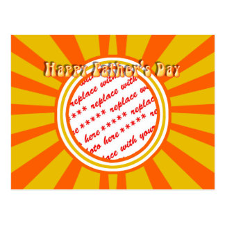 Groovy Retro Gold & Orange Father's Day Frame Postcard
