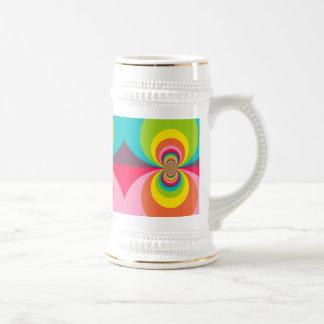 Groovy Retro Hippie Vintage Rainbow Kaleidoscope Beer Stein