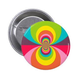 Groovy Retro Hippie Vintage Rainbow Kaleidoscope Buttons