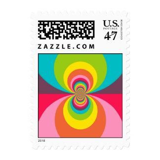 Groovy Retro Hippie Vintage Rainbow Kaleidoscope Postage