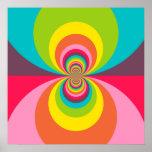Groovy Retro Hippie Vintage Rainbow Kaleidoscope Poster