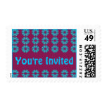 groovy retro invitation postage stamp
