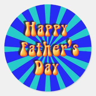 Groovy Retro Light Dark Blue Father s Day Sticker