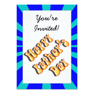 Groovy Retro Light & Dark Blue Father's Day 5x7 Paper Invitation Card