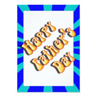 "Groovy Retro Light & Dark Blue Father's Day 5"" X 7"" Invitation Card"