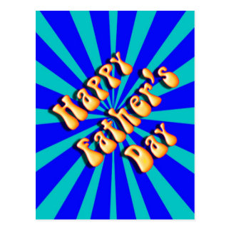 Groovy Retro Light & Dark Blue Father's Day Postcard