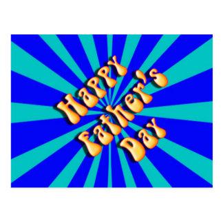 Groovy Retro Light & Dark Blue Father's Day Postcard