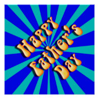 Groovy Retro Light & Dark Blue Father's Day Poster