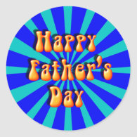 Groovy Retro Light & Dark Blue Father's Day Sticker