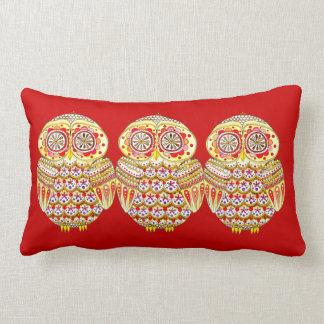 Groovy Retro Owl Art Lumbar Pillow