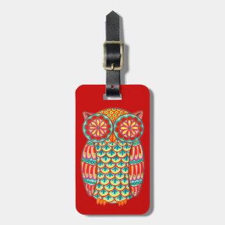 Groovy Retro Owl Luggage Tag