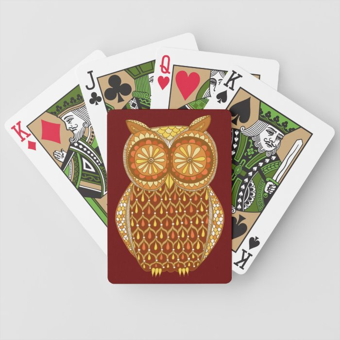 Groovy Retro Owl Playing Cards
