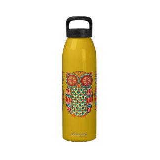 Groovy Retro Owl Water Bottle