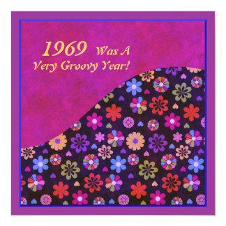 Groovy Retro PopArt Flower Power 60s 70s Birthday 5.25x5.25 Square Paper Invitation Card