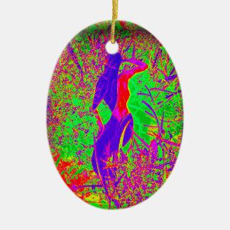 groovy retro purple hippie mermaid Double-Sided oval ceramic christmas ornament
