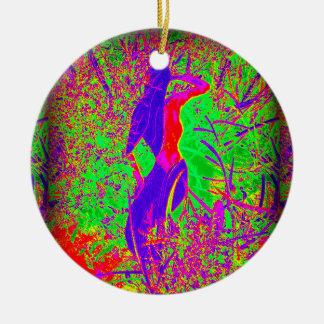 groovy retro purple hippie mermaid Double-Sided ceramic round christmas ornament