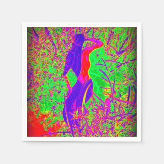 groovy retro purple hippie mermaid paper napkin