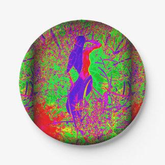 groovy retro purple hippie mermaid paper plate
