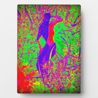 groovy retro purple hippie mermaid plaque
