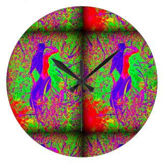 groovy retro purple hippie mermaids large clock