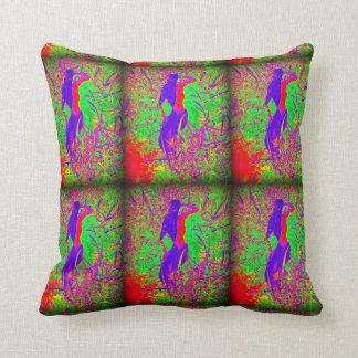 groovy retro purple hippie mermaids on green throw pillow