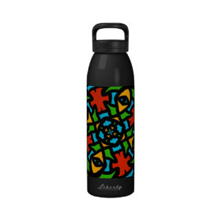 Groovy Retro Puzzle Abstract Water Bottles