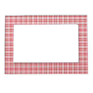 Groovy Retro Red Plaid Magnetic Fridge Frame