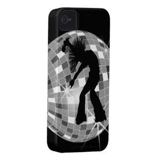 Groovy Retro Singer Dancer on Silver Disco Ball iPhone 4 Cases