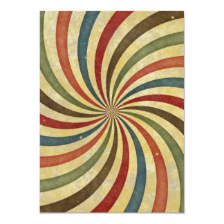 Groovy Retro Spiral Sunbeam Ray Swirl Design Card