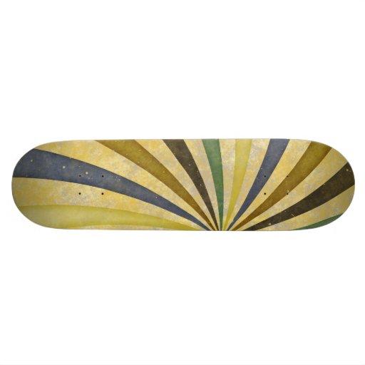 Groovy Retro Spiral Sunbeam Ray Swirl Design Skate Board Deck