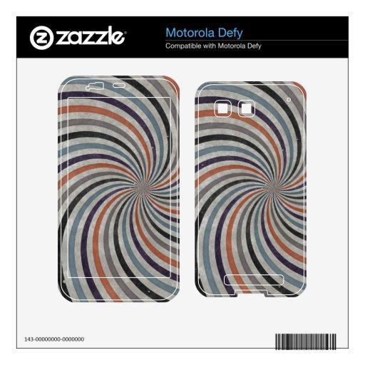 Groovy Retro Spiral Sunbeam Ray Swirl Motorola Defy Skins