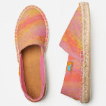 Groovy Retro Style Peachy Watercolor Abstract Espadrilles