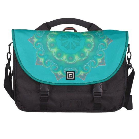 Groovy Retro Turquoise Mandala Snowflake Abstract Laptop Commuter Bag