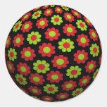 Groovy Retro Xmas Flower Power Ball Round Sticker
