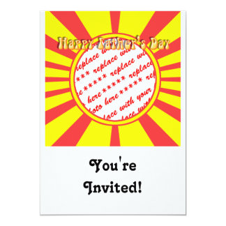 Groovy Retro Yellow & Red Father's Day Frame 5x7 Paper Invitation Card