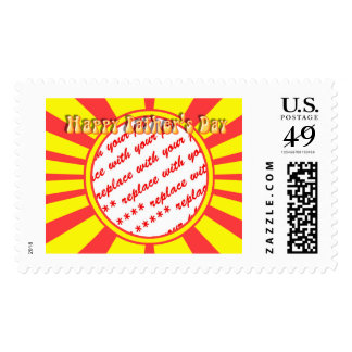 Groovy Retro Yellow & Red Father's Day Frame Postage Stamps