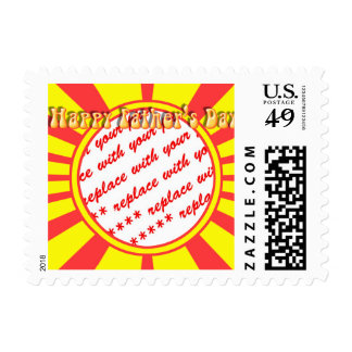 Groovy Retro Yellow & Red Father's Day Frame Stamps