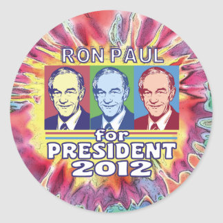 Groovy Ron Paul for President Round Sticker
