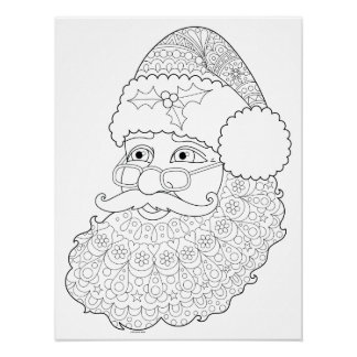 Groovy Santa Coloring Poster - Colorable Poster