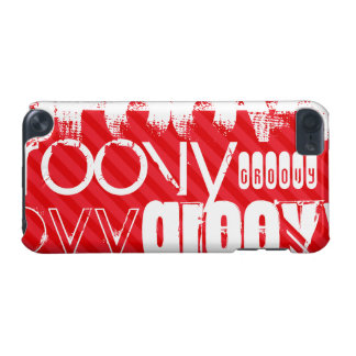 Groovy; Scarlet Red Stripes iPod Touch (5th Generation) Cases