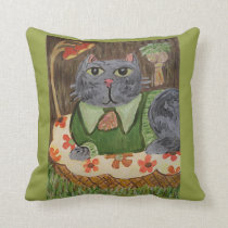 Groovy Seventies Cat Throw Pillow