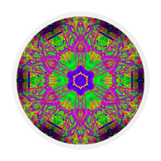 groovy six-point star purple green edible frosting rounds