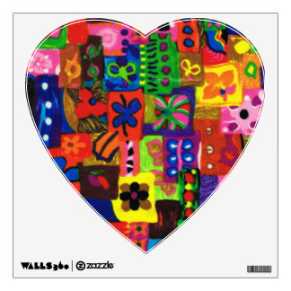 Groovy Sixties Collage Heart Wall Decal