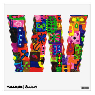 Groovy Sixties Collage Letter W Wall Decal