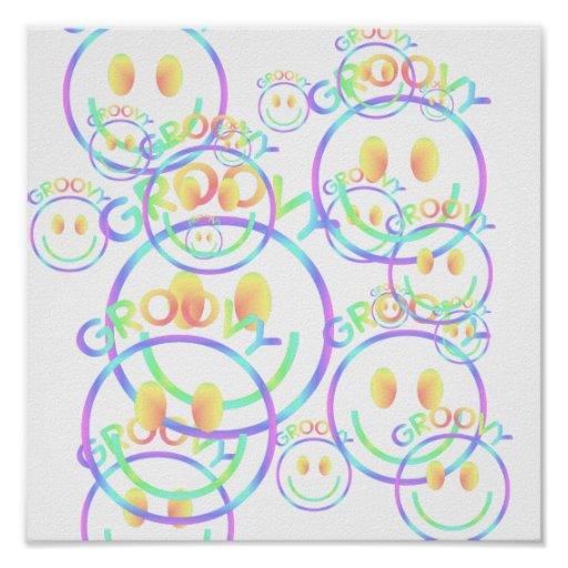 Groovy Smiley Face Print
