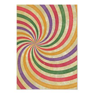 Groovy Spiral Sunbeam Ray Swirl Design Grungy Card