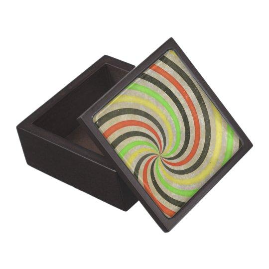 Groovy Spiral Sunbeam Ray Swirl Design Grungy Keepsake Box