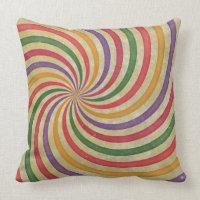 Groovy Spiral Sunbeam Ray Swirl Design Grungy Throw Pillows