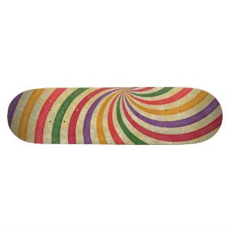 Groovy Spiral Sunbeam Ray Swirl Design Grungy Skateboard